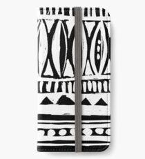 Schwarzweiss-westafrikanisches Stammes- Monochrommuster iPhone Flip-Case/Hülle/Klebefolie