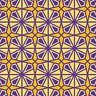 Islamic Ceramic - Geometric Pattern (Purple and Yellow) by mariomartin
