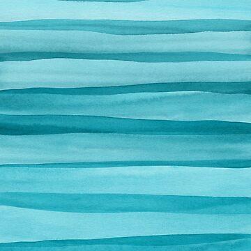 Patrón de líneas de acuarela verde azulado de blueskywhimsy