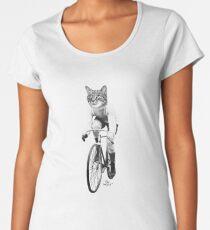 Chat à vélo - noir et blanc T-shirt premium échancré