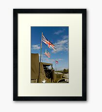 WW 2, GMC US Army truck with flags Framed Print