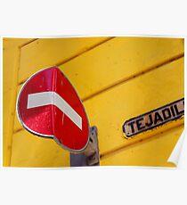 Bent no entry sign, Havana, Cuba Poster