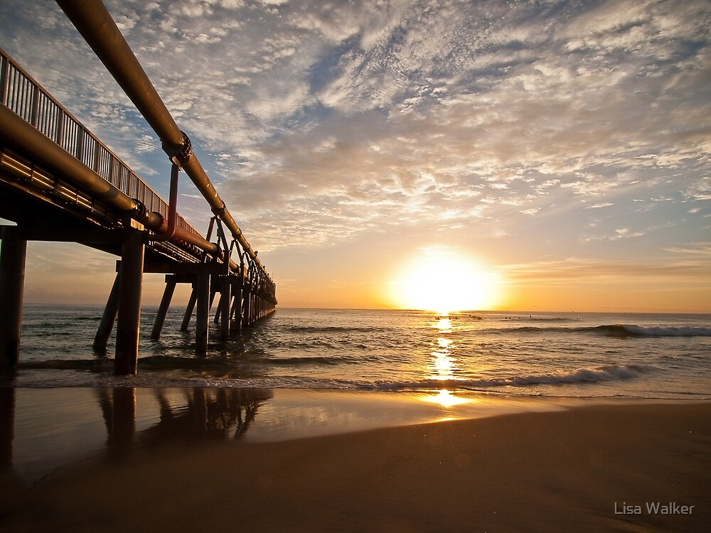 Sunrise at the sand pumping jetty, Gold Coast, Australia by Lisa Walker