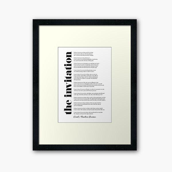 The Invitation by Oriah Mountain Dreamer Framed Art Print
