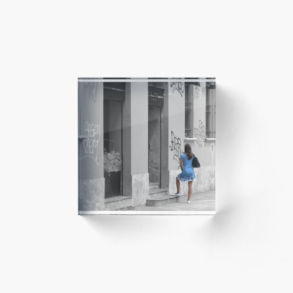The Girl in The Blue Dress Acrylic Block