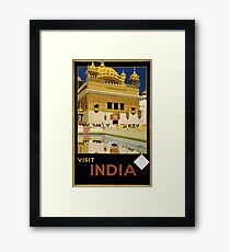 Visit India Vintage Travel Poster Restored Framed Print