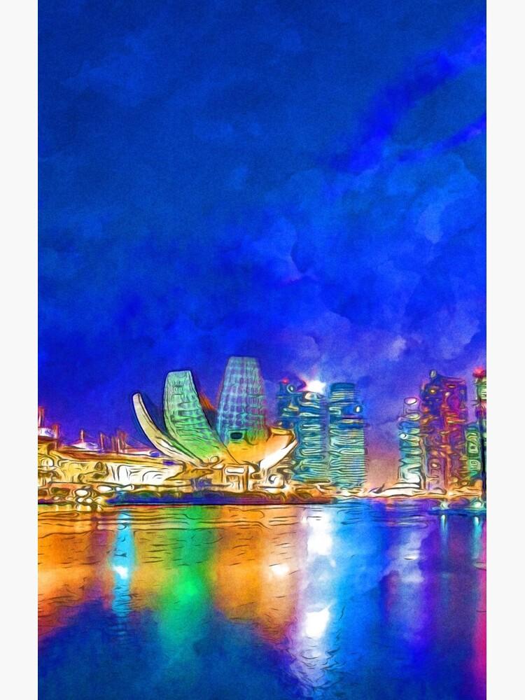 Nacht in Marina Bay | Singapur - lebendige Aquarellmalerei von ctaylorscs