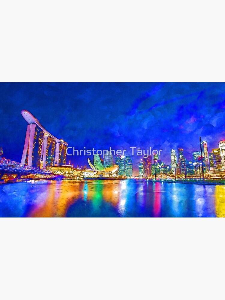 Nacht in der Marina Bay | Singapur - lebendige Aquarellmalerei von ctaylorscs