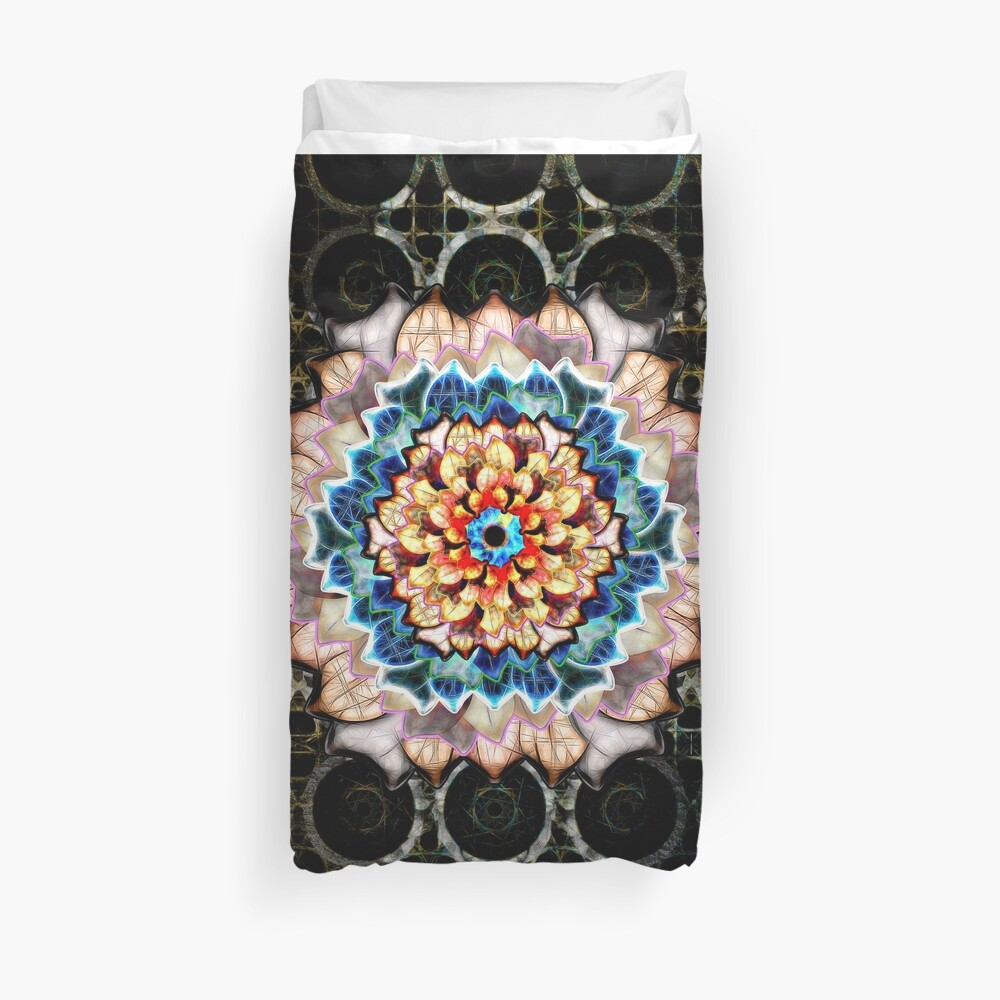 Light In Dark Flower In An Exotic Pattern Duvet Cover