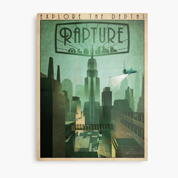 Rapture Art-Deco Travel Poster Metal Print