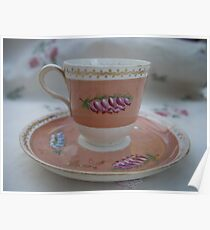 small cup with beautiful heather painting Poster