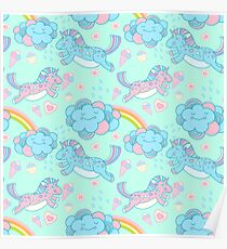 Vector seamless pattern with the unicorns, clouds and rainbow Poster