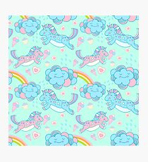 Vector seamless pattern with the unicorns, clouds and rainbow Photographic Print