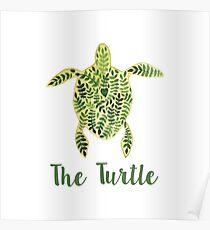 Patterned floral watercolor turtle illustration Poster