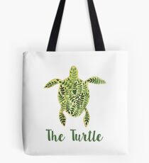 Patterned floral watercolor turtle illustration Tote Bag