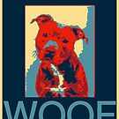 Pit bull lover, funny sweet pit bull illustrated in Obama style pop art poster style by Angie Stimson