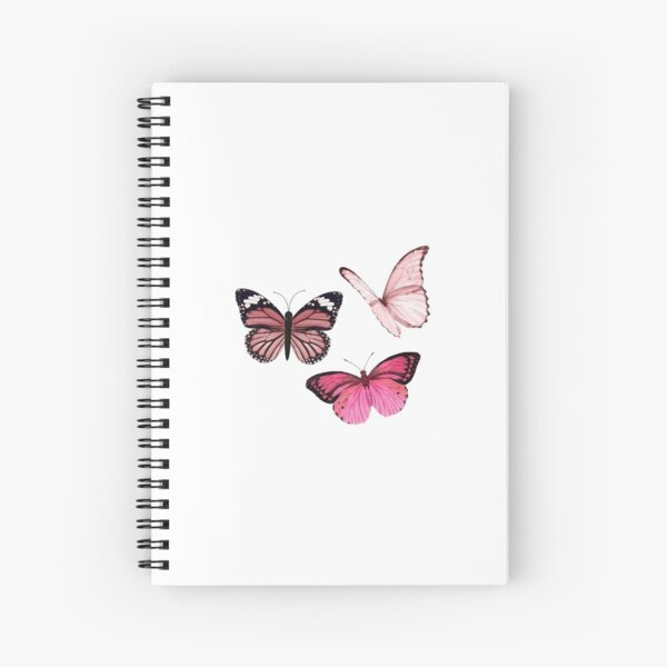 Pink Butterfly stickers *aesthetic* Spiral Notebook