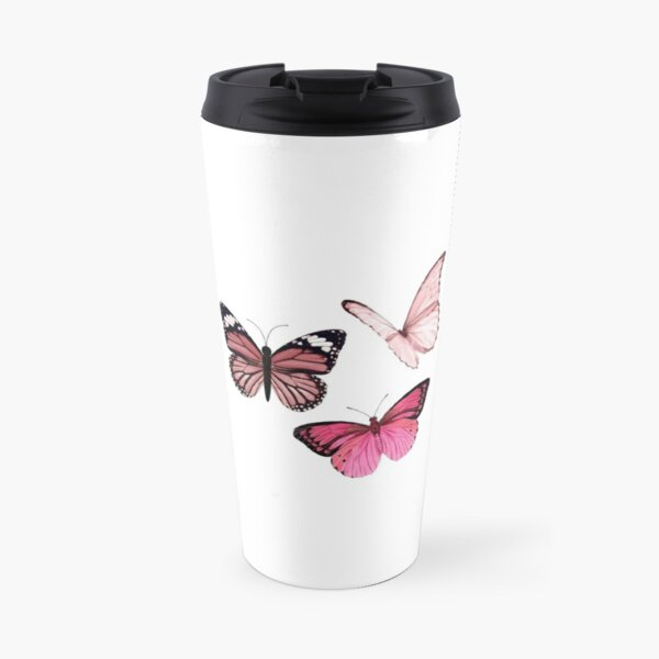 Pink Butterfly stickers *aesthetic* Travel Mug