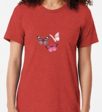 Pink Butterfly stickers *aesthetic* Tri-blend T-Shirt