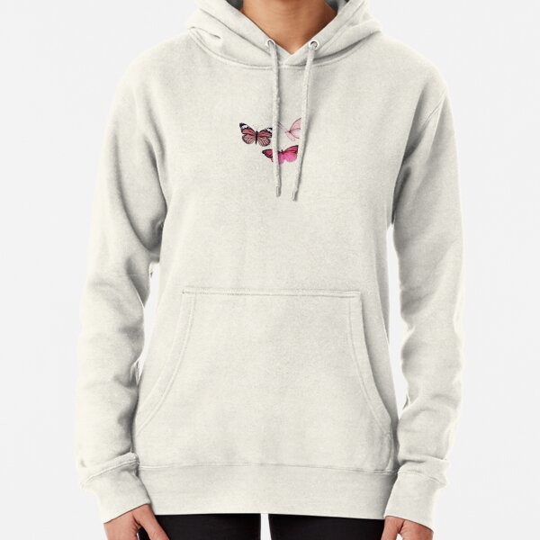 Pink Butterfly stickers *aesthetic* Pullover Hoodie