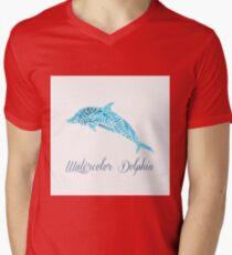 Patterned floral watercolor dolphin vector illustration T-Shirt
