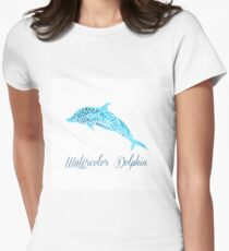 Patterned floral watercolor dolphin vector illustration Womens Fitted T-Shirt