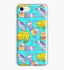 Watercolor  seamless pattern with the other bright cats.  iPhone Case/Skin