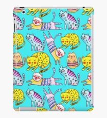 Watercolor  seamless pattern with the other bright cats.  iPad Case/Skin