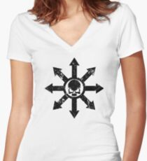 Mark of Chaos Distressed Black Women's Fitted V-Neck T-Shirt