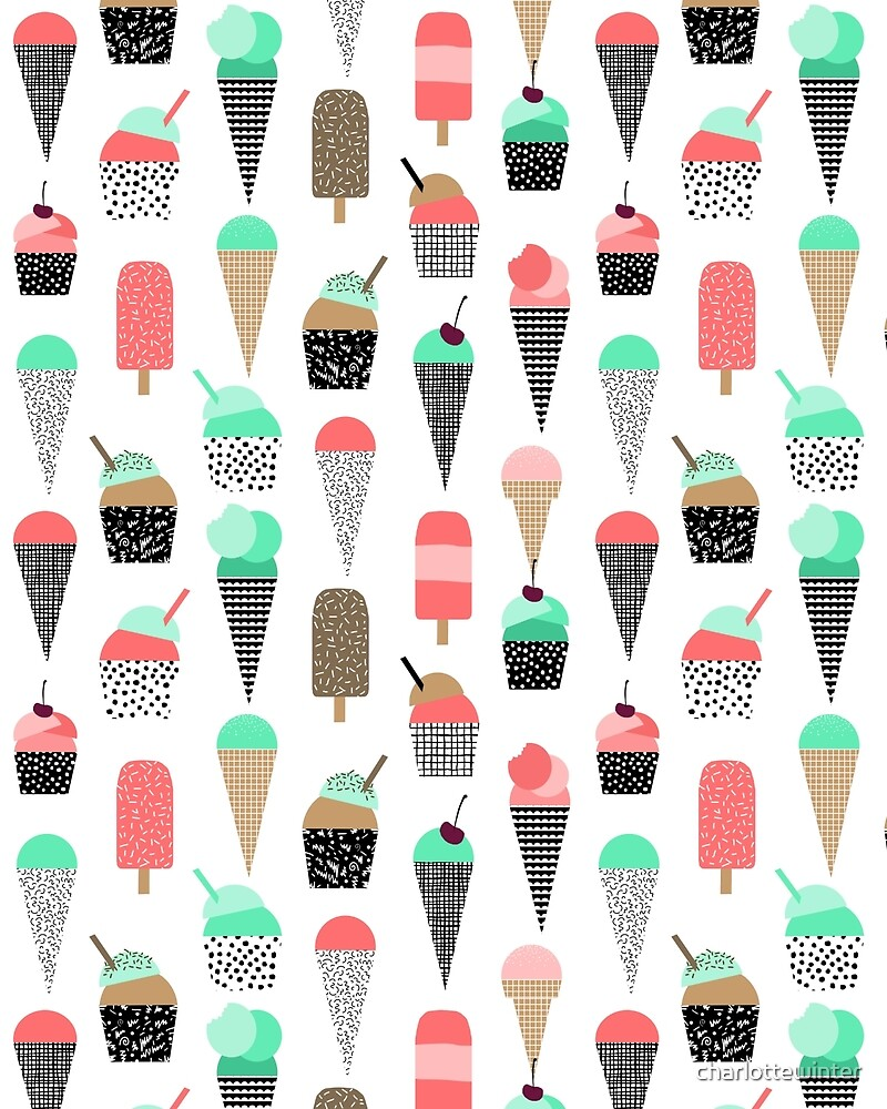 Ice Cream - Summer fresh modern minimal print pattern design gifts for college  by charlottewinter