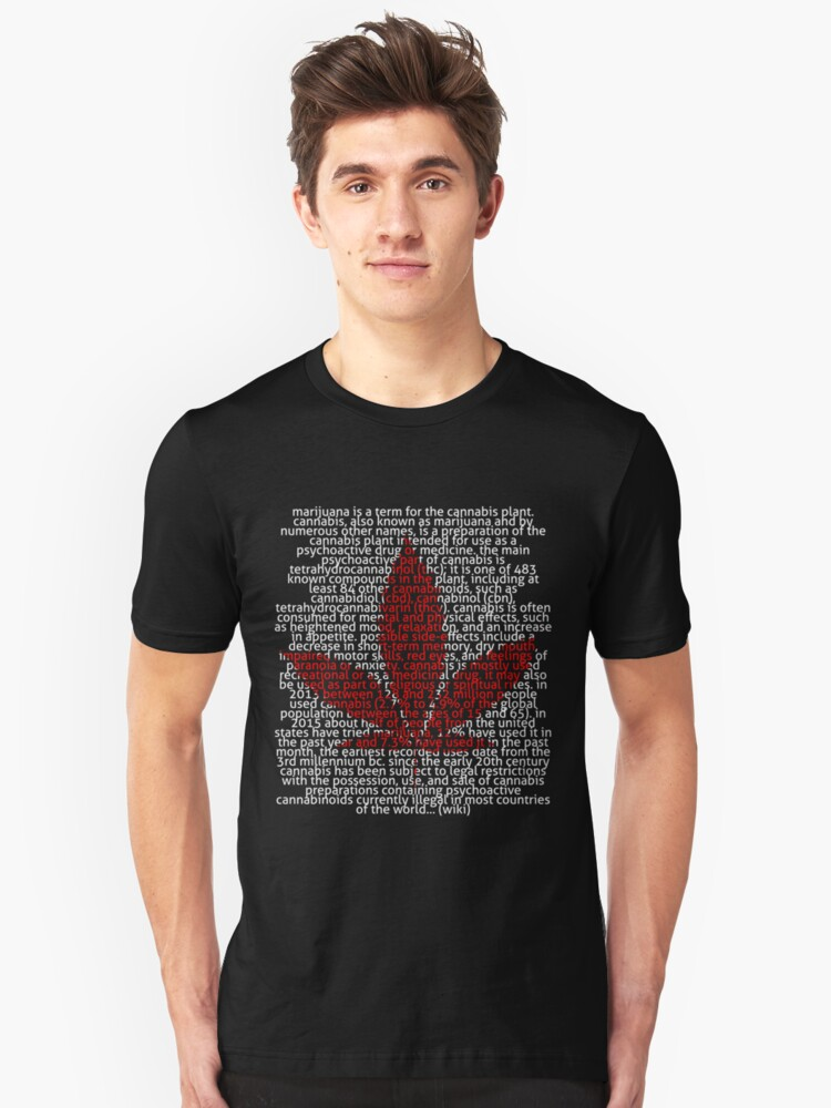 Marijuana leaf in Picture'Of'Text style Unisex T-Shirt Front