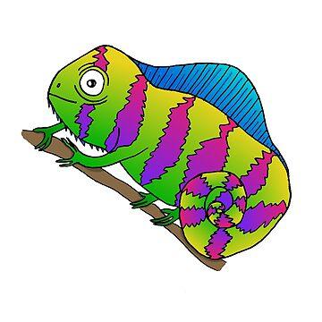 Bright Colorful Cartoon Doodle Chameleon  by SharkaSplat