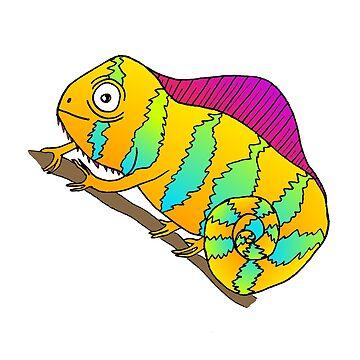 Bright Colorful Orange Cartoon Doodle Chameleon  by SharkaSplat