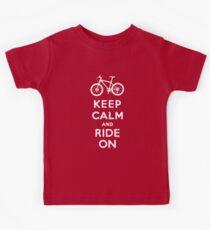 Keep Calm and Ride On mountain bike white fonts Kids Tee