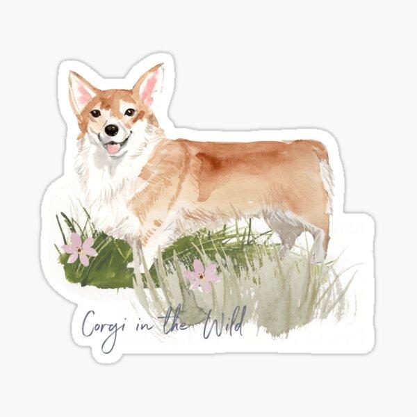 Watercolor Corgi Dog in the Wild Sticker