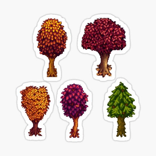 Pixelated Fall Trees Sticker