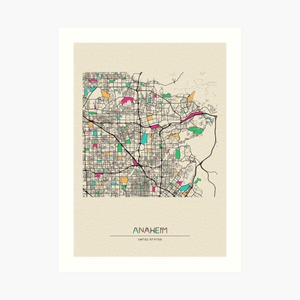 Anaheim, California Street Map Art Print