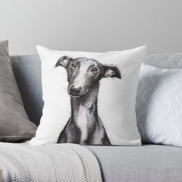 Beautiful black greyhound looking soulful Throw Pillow