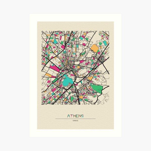 Athens, Greece Street Map Art Print
