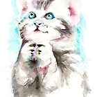 Happy Kitty Cat Watercolour by TiberiuSoos