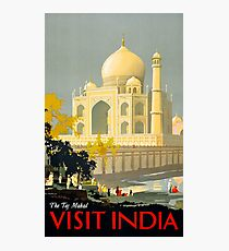Taj Mahal Visit India Vintage Travel Poster Restored Photographic Print