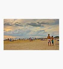 People on the beach enjoying the summer Photographic Print