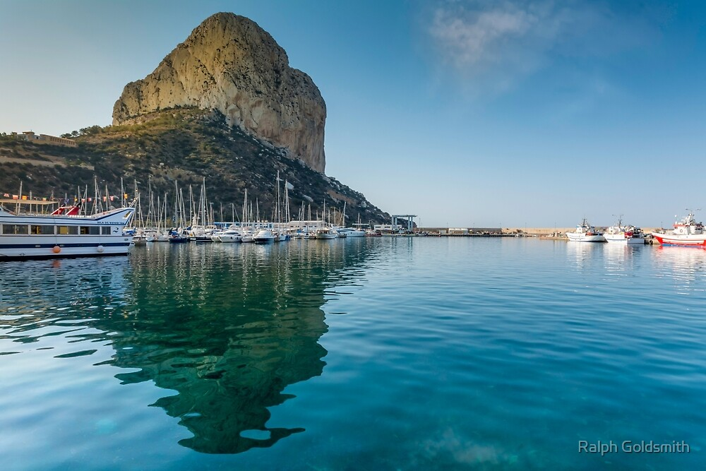 Rock of Ifach reflected in Calpe Marina by Ralph Goldsmith