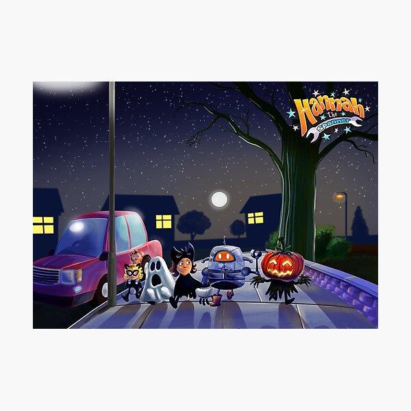 Halloween with Robot Photographic Print