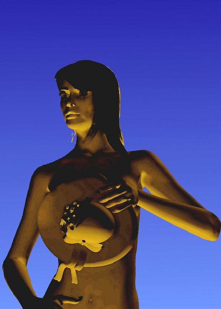 Woman in front of a blue background by Klaus Engels
