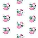 Pink flamingo and green leaves phone cover and t-shirt  by girlisart