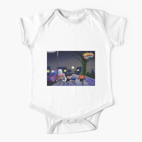 Halloween with Robot Short Sleeve Baby One-Piece