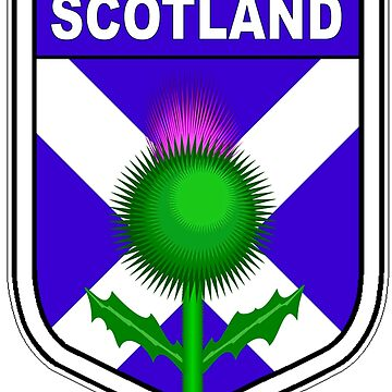 Flag of Scotland in shield with thistle  by headpossum