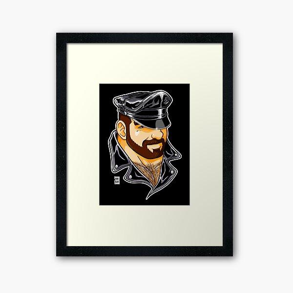 ADAM LIKES LEATHER Framed Art Print