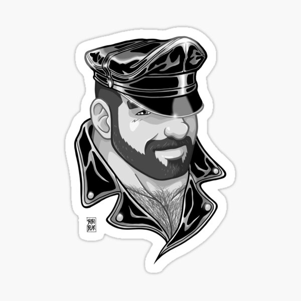 ADAM LIKES LEATHER - BLACK AND WHITE Sticker